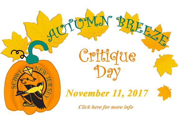 NJ-SCBWI FALL BREEZE CRITIQUE DAY REGISTRATION WILL OPEN Saturday 9/16, 9:00 a.m. Registration Link is below.  (Do not try to register before 9:00 a.m. as it will not be open) Saturday, November 11, 2017 10:00 a.m. - 3:00 p.m.  Princeton Theological Seminary,  Stuart Hall Princeton, NJ 08542 Registration closes October 7, 9:00 p.m. or when sells out. *Note: You must upload by October 7, 9:00 p.m.  ____________________________________________________________________   Here's what is In store for you! One (single) fifteen minute critique session for full picture book or first 15 pages (+ 2 page synopsis) of a novel or portfolio review. Two (single) fifteen minute critique sessions with two different faculty choices for full picture book or first 15 pages (+ 2 page synopsis) of a novel or portfolio review.           OR One (double) thirty minute critique session with same faculty choice for first 40 pages (+ 2 page synopsis) of a novel only. You will not be able to sign up for more than two critiques. One double session counts as two critiques. This event is open to all SCBWI members and Non-SCBWI members (with a non-member surcharge). SPACE IS LIMITED—  so when registration opens be sure to  REGISTER EARLY to guarantee your spot.                                                     ONE Single critique: $90 SCBWI Member / $115 Non-SCBWI Member TWO Single critiques: $180 SCBWI Member / $230 Non-SCBWI Member One DOUBLE critique: $180 SCBWI Member / $230 Non-SCBWI Member    Faculty Line Up AGENTS Linda Epstein (Literary Agent at Emerald City Literary Agency) Larissa Helena (Literary Agent at Pippin Properties) Meg LaTorre-Snyder (Literary Agent Apprentice at Corvisiero Literary Agency) Rachel Orr (Literary Agent at Prospect Agency) Amy Stern (Literary Agent at Sheldon Fogelman Agency)     Editors Ellen Cormier (Assistant Editor at Dial Books/PenguinRandomHouse) Katie Heit (Assistant Editor at Greenwillow, Imprint of HarperCollins) Chris Hernandez (Associate Editor at HarperCollins Children's & Harper Teen) Nicole Otto (Assistant Editor at Imprint, Macmillan Children's Publishing Group Christina Pulles (Editor at Sterling Children's Books) Art Directors Chad W. Beckerman (Creative Director, Abrams) Irene Vandervoort (Art Director, Sterling Children's Books) Read all about the guest editors, agents, art directors HERE     FAQ's Answered HERE Map and Directions HERE (Parking will be in the Library Lot and registrants will be emailed a parking pass after they register.) REGISTER 9:00 a.m. HERE